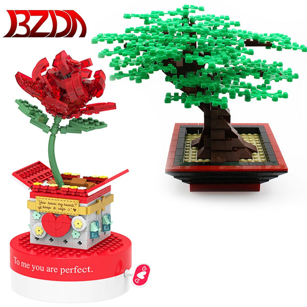 Flower Tree Plants Building Block Set