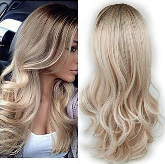 Lady Wig Brown to Ash Blonde High Density Heat Resistant Synthetic Hair Weave Full Wigs for Women