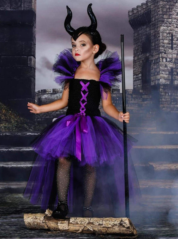 Girls Purple & Black Maleficent Inspired Halloween Tutu Dress - Purple / 2T - Girls Halloween Costume