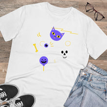 Load image into Gallery viewer, Skull Cat Organic T-shirt - Unisex