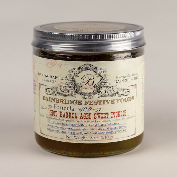 BainBridge Hot Barrel-Aged Sweet Pickles