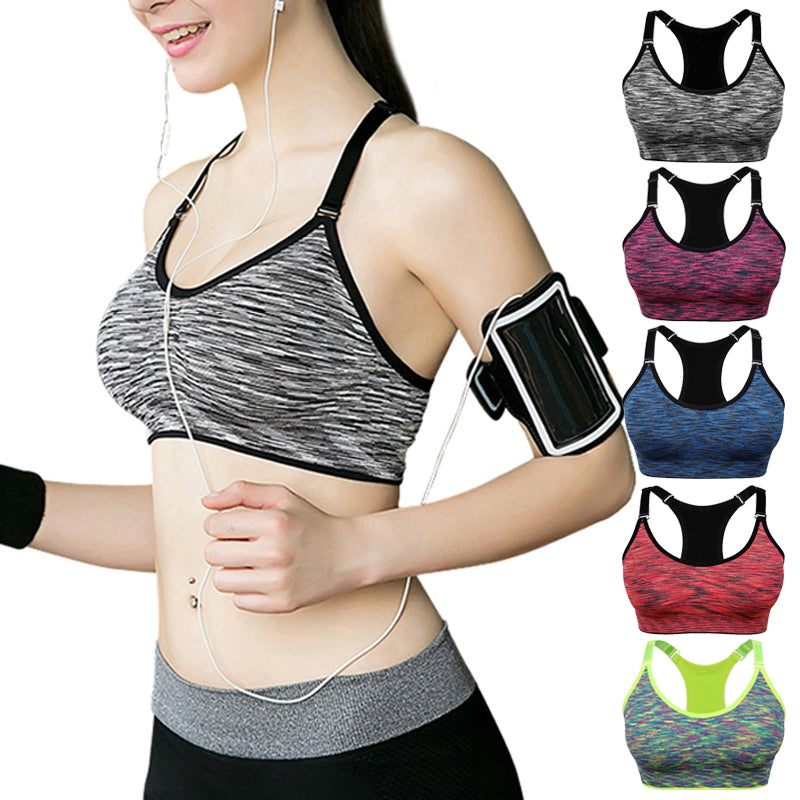 VEQKING Quick Dry Padded Sports Bra,Women Wirefree Adjustable Yoga Bra - Fresh Smiles .Co