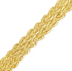 10K HOLLOW YELLOW GOLD 9MM 3 ROW ROPE CHAIN