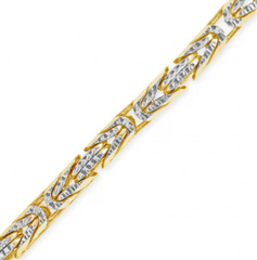10K SOLID YELLOW GOLD PAVE 3MM BYZANTINE CHAIN