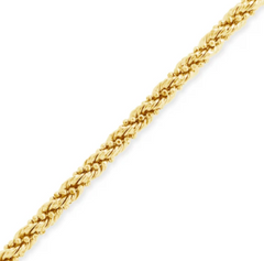10K YELLOW GOLD HOLLOW 3MM ROPE CHAIN W MOON CUTS