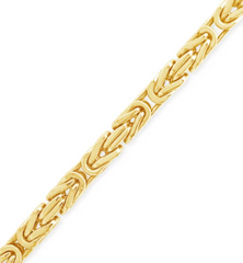 10K YELLOW GOLD SEMI SOLID 3MM BYZANTINE CHAIN