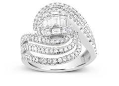 DIAMOND ENGAGEMENT RING 1.25CT TW BAGGUETTES W ROUND CUT 14K WHITE GOLD