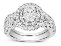 DIAMOND HALO ENGAGEMENT RING 2CT TW OVAL & ROUND CUT 14K WHITE GOLD