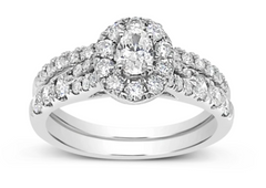 Diamond Oval Halo Engagement Ring 1.19 CT TW Round Cut 14K White Gold