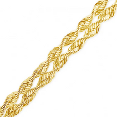 10K YELLOW GOLD 8MM 2 ROW ROPE CHAIN W/ DIAMOND CUTS