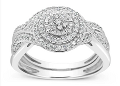 Diamond halo ring 14k white gold