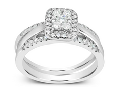 3 BAND DIAMOND HALO ENGAGEMENT RING ROUND CUT 14K WHITE GOLD