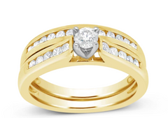 DIAMOND ENGAGEMENT RING ROUND CUT 14K YELLOW GOLD