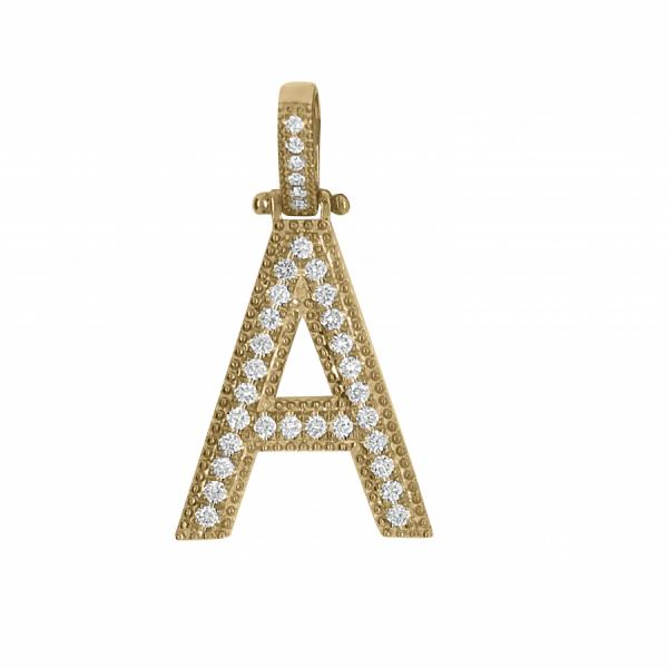 "10k Yellow Gold .65ct Diamond ""A"" Pendant"