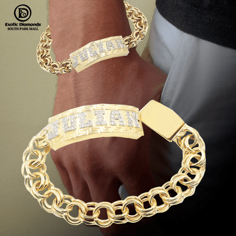10K Yellow Gold Custom Name Bracelet With Diamond Letters