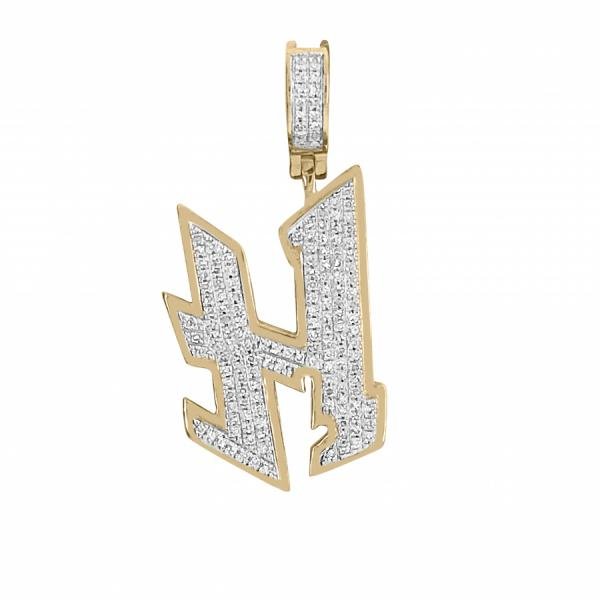 "10k Yellow Gold .35ct Diamond Graffiti ""H"" initial pendant"