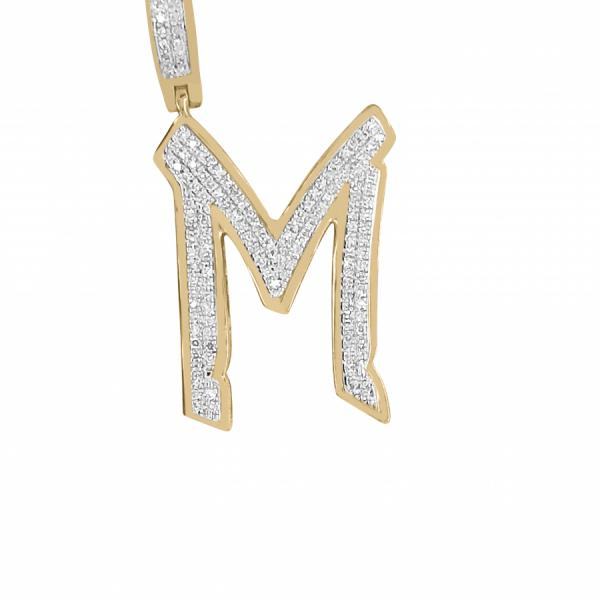 "10K Yellow Gold .32ct Diamond Graffiti ""M"" initial pendant"