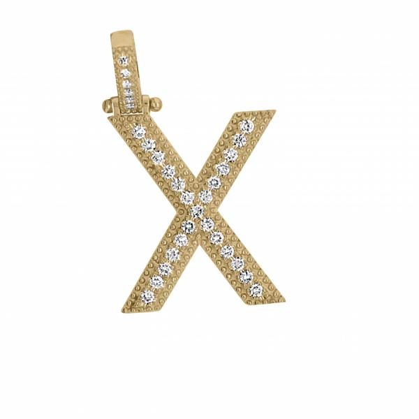 "10k Yellow Gold .60ct Diamond ""X"" Pendant"