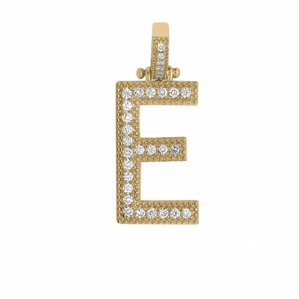 "10k Yellow Gold .65ct Diamond ""E"" Pendant"