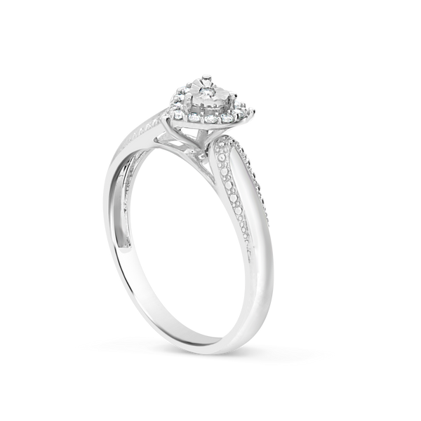 Heart Shaped Diamond Ring .10CT tw Round Cut 10K White Gold