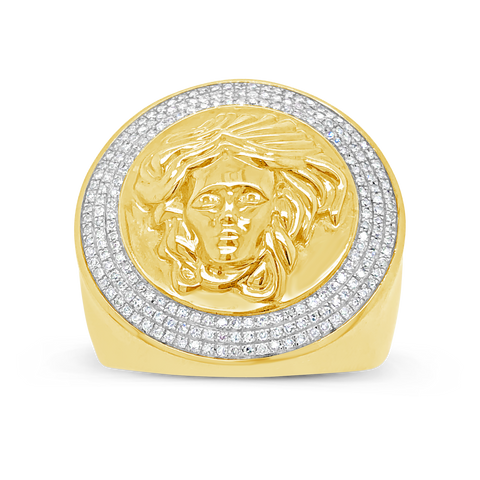 Diamond Designer Medusa Ring .45 CTW Round Cut 10K Yellow Gold