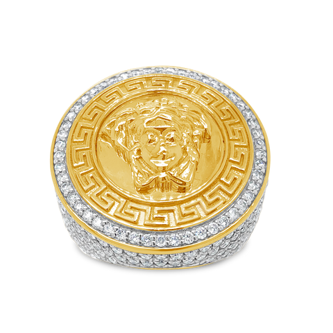 Diamond Designer Medusa Ring 3.50 CTW Round Cut 10K Yellow Gold