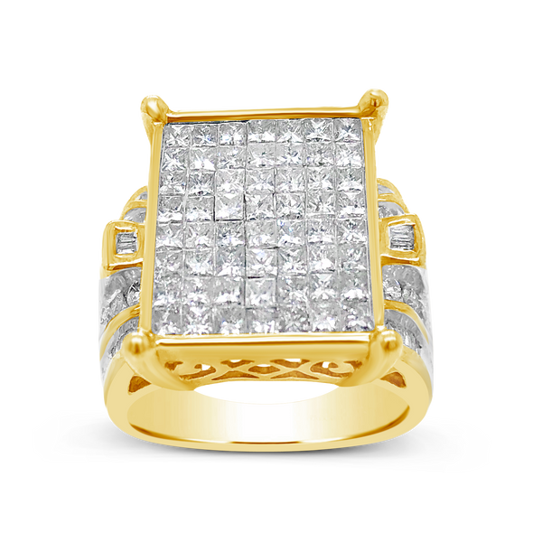 Diamond Ring 2CT tw Princess Cut w/ Baguettes & Round Cut 14K Yellow Gold