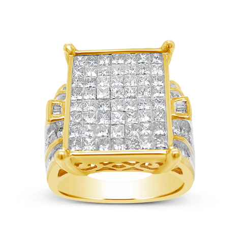 Diamond Ring 2 CTW Princess Cut w/ Baguettes & Round Cut 14K Yellow Gold