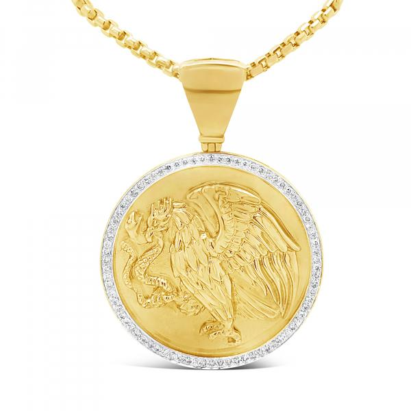 Diamond Pendant 2 CTW Round Cut 10K Yellow Gold
