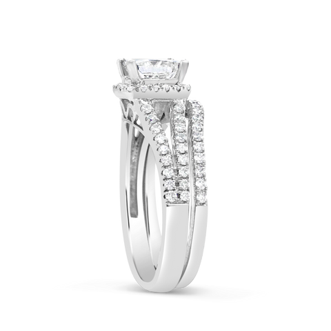 Diamond Halo Engagement Ring 2.50 CTW Princess Cut 14K White Gold