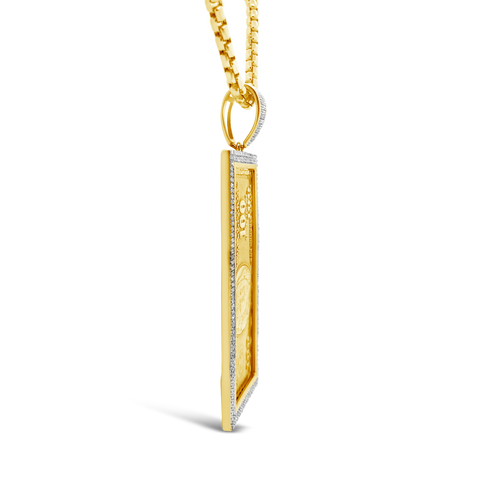 Diamond One Hundred Dollar Bill Pendant .52 CTW Round Cut 10K Yellow Gold