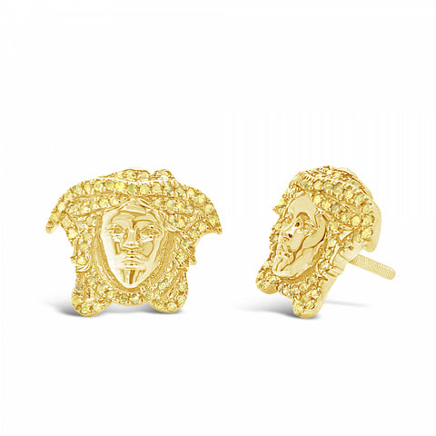 10K Yellow Gold .42ct Diamond Medusa Earrings w/ Diamond Details