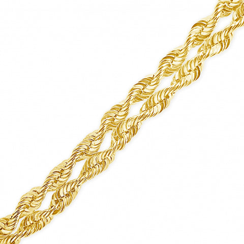 10K Yellow Gold  2 row Rope Chain w/ Diamond Cuts