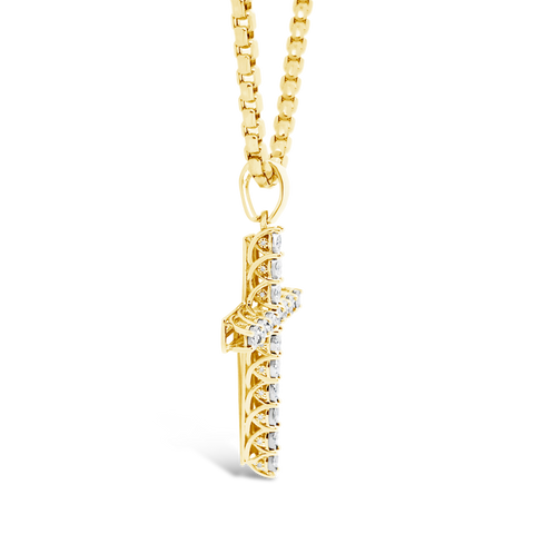 Diamond Cross Pendant .73 CTW Round Cut 10K Yellow Gold