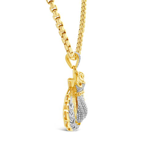 Diamond Money Bag Pendant .40 CTW Round Cut 10K Yellow Gold