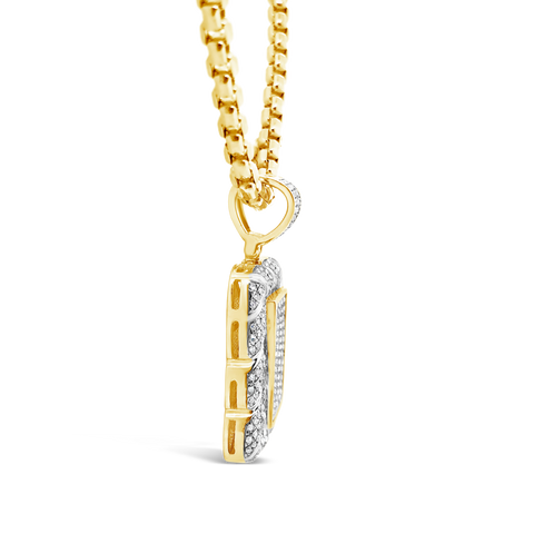 Diamond Pendant .90 CTW Round Cut 10K Yellow Gold
