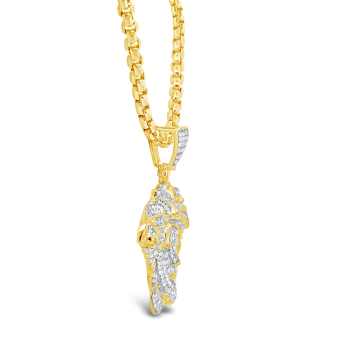 Diamond Medusa Pendant 1.04 CTW Round Cut 10K Yellow Gold