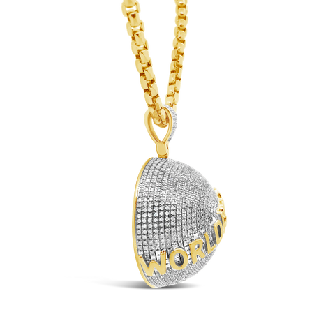 "Diamond ""World is Yours"" Pendant 1 CTW Round Cut 10K Yellow Gold"