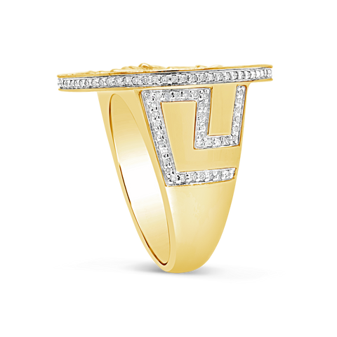 Diamond Designer Medusa Ring .53 CTW Round Cut 10K Yellow Gold