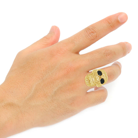 Gold Candy Skull Ring w/ Black Onyx 10K Yellow Gold