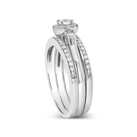 3 Piece Diamond Halo Engagement Ring .62 CTW Round Cut 14K White Gold