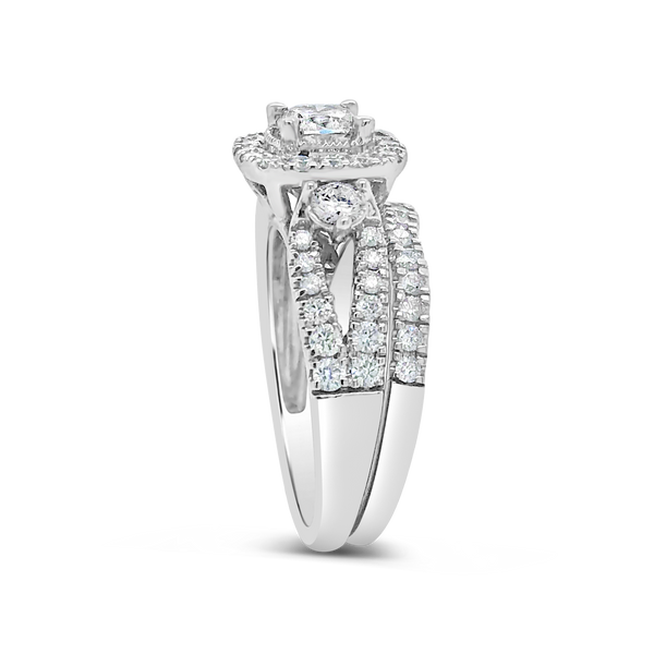Diamond Halo Engagement Ring 1.75CT tw Round Cut 14K White Gold