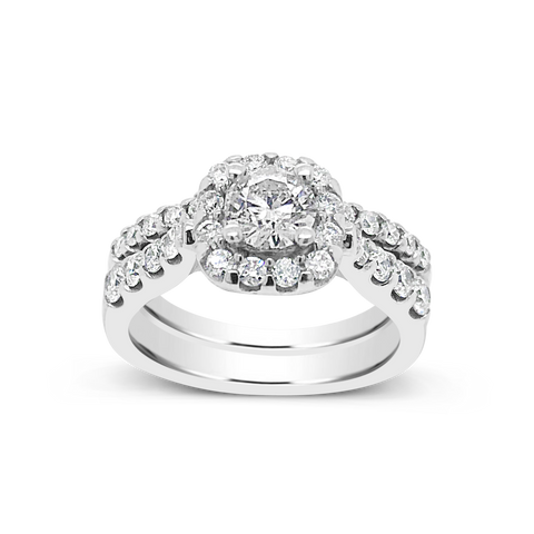 Diamond Halo Engagement Ring 1.50 CTW Round Cut 14K White Gold