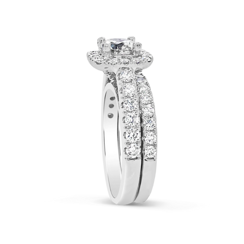 Diamond Halo Engagement Ring 2.25 CTW Round Cut 14K White Gold