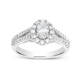 Diamond Halo Engagement Ring 1CT tw Oval w/ Round Cut 14K White Gold