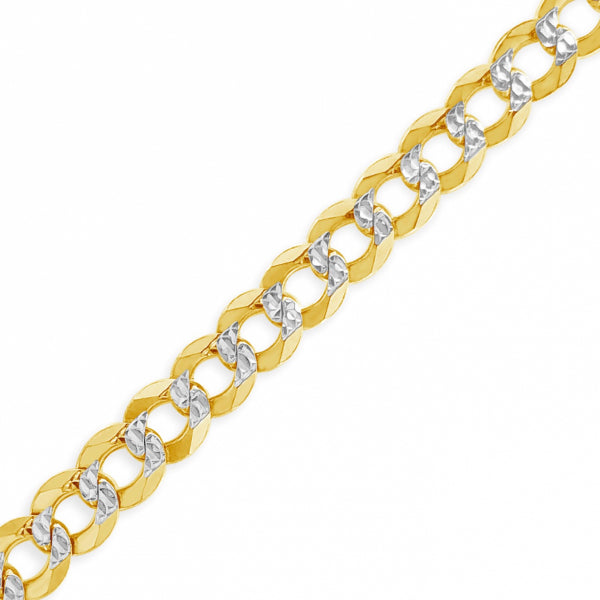 "10K Yellow Gold Solid Two Tone  Pave Cuban Link 20"" Chain"