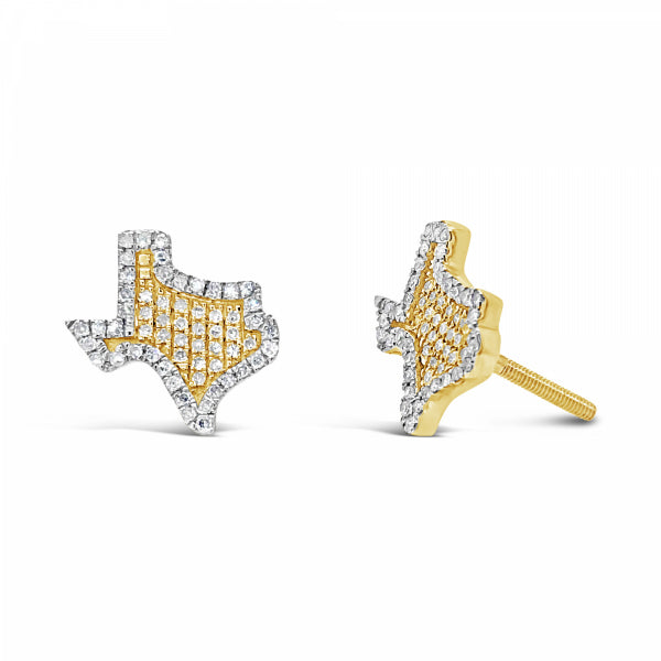 10K Yellow Gold .27ct Diamond Texas Earrings w/ Gold Detail