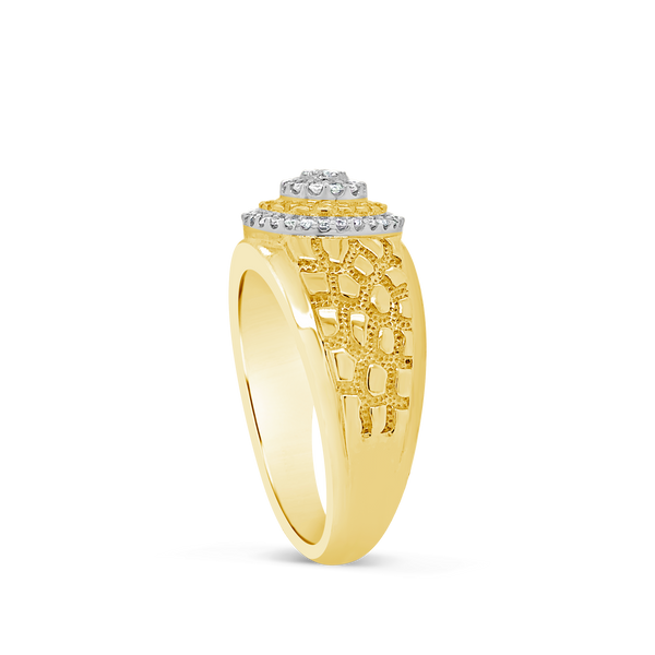 Diamond Nugget Ring .25CT tw Round Cut 10K Yellow Gold