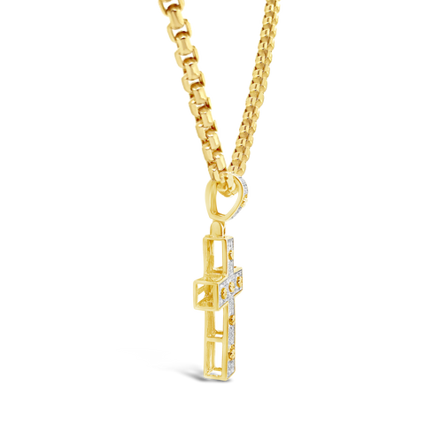 Diamond Designer Cross Pendant .23 CTW Round Cut 10K Yellow Gold
