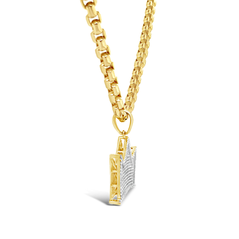 Diamond Crown Pendant .55 CTW Round Cut 10K Yellow Gold